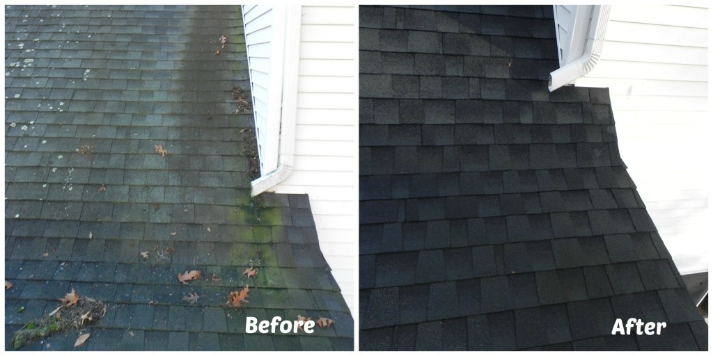 Roof Cleaning Perfection example 3. Before and after picture of roof benefitting from our roof cleaning services!
